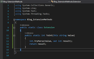 Extension class with code