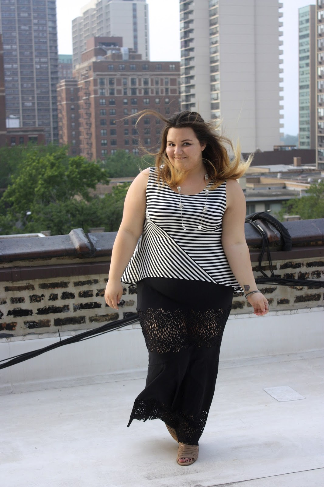 AnnaFesta, maxi skirt, plus size fashion, natalie craig, natalie in the city, chicago rooftop, plus size fashion blogger, cute curvy collection, Anne Fanganello