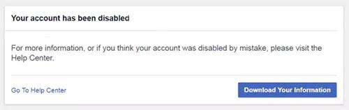 تعطيل حساب الفيسبوك