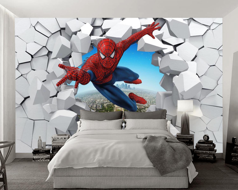 Tranh Dán Tường Siêu Nhân 3D Phòng Ngủ Bé Trai Đẹp