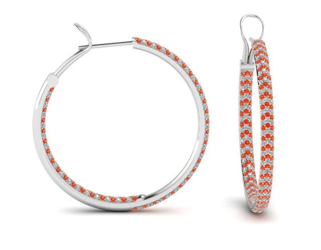 Orange Diamond Hoop Earrings