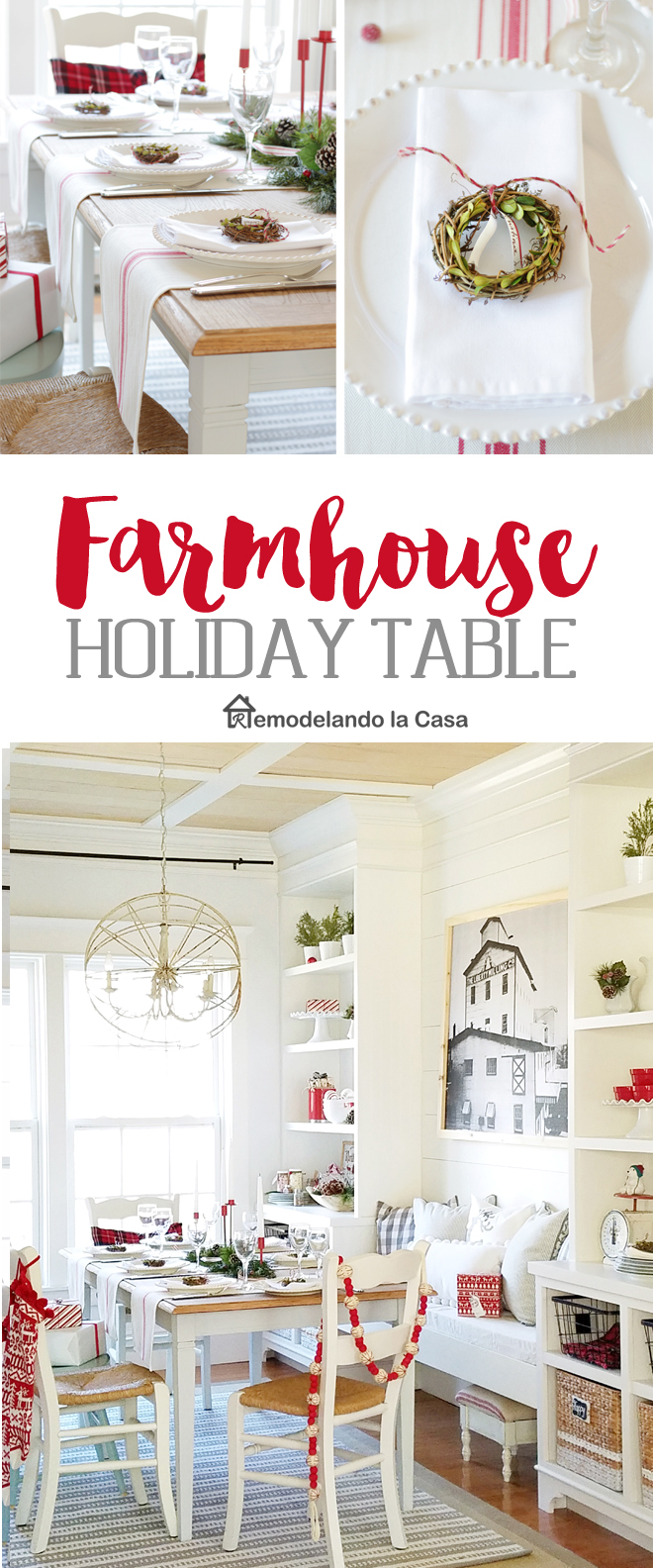 rustic, farmhouse dining room with tablescape in red and white with wooden tones and mini boxwood wreath place cards.
