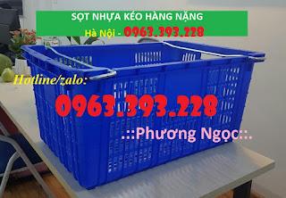Sọt nhựa HS011, sọt nhựa đựng nông sản có quai sắt