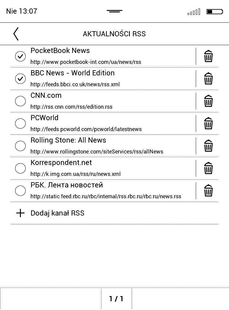 PocketBook Aqua 2 – lista kanałów rss