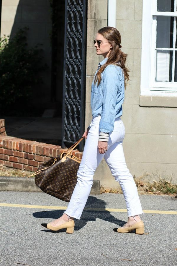 Styling white denim in fall