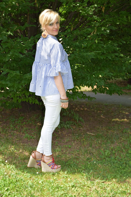 outfit jeans skinny bianchi come abbinare i jeans skinny bianchi idee outfit jeans skinny bianchi outfit luglio 2017 outfit estivi mariafelicia magno fashion blogger colorblock by felym fashion blog italiani blog di moda