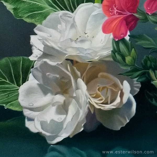 """Close up view of """"Reflecting"""" Oil painting on panel, 30 x 24 inches"""