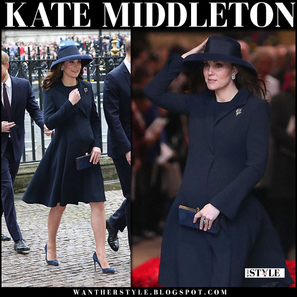 Kate Middleton in navy coat beulah and suede pumps at Commonwealth Day service royal family fashion march 12