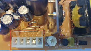 PSU header pins with power labels
