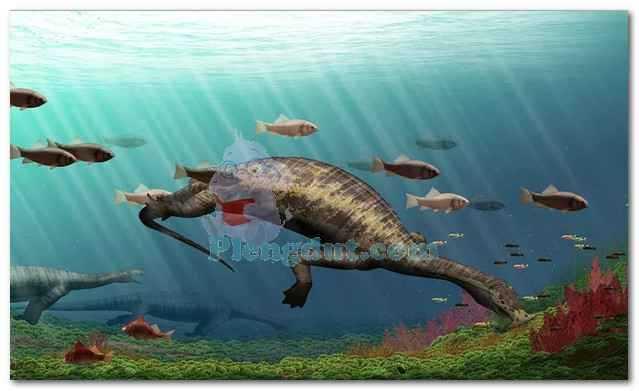 Ilustrasi Unicus Atopodentatus berenang bebas mencari makanan di dasar lautan