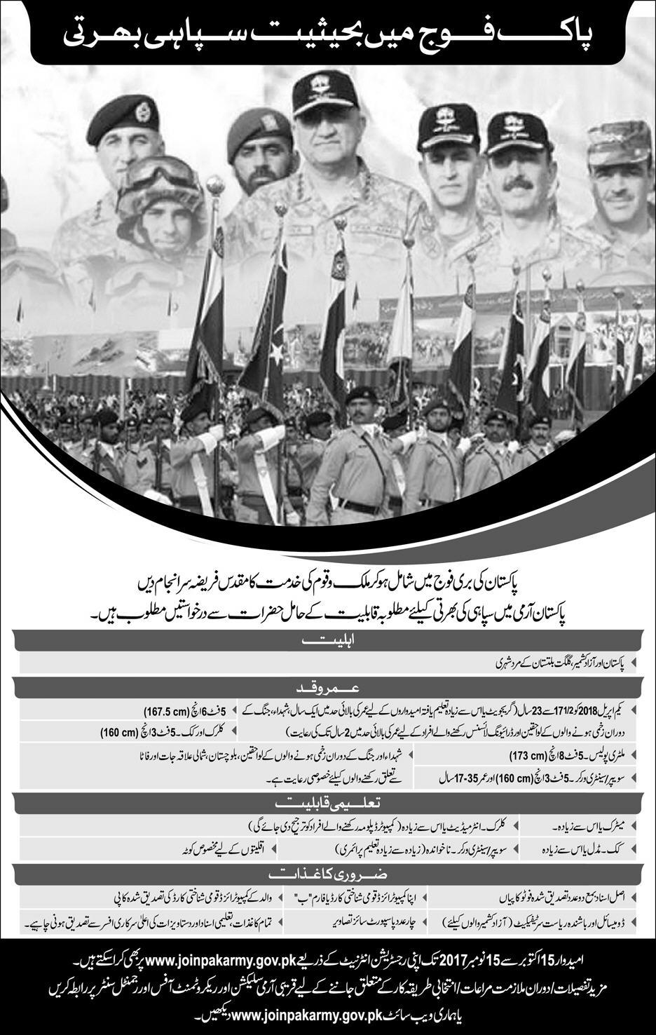 10000 Jobs in Pakistan Army  For The Post Of Soldiers Oct 2017