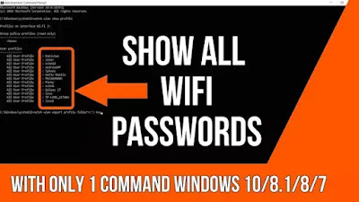 Find All WiFi Passwords With Only One Command ||Windows 10 /8.1/ 8/7 Ver...