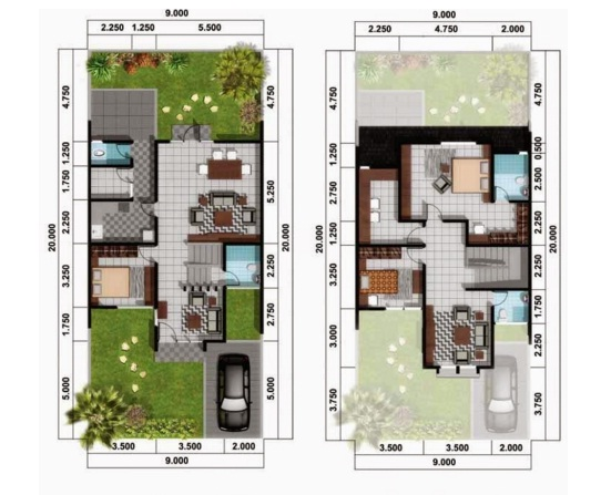 Minimalist House Plan Type 70 Two Floors 2