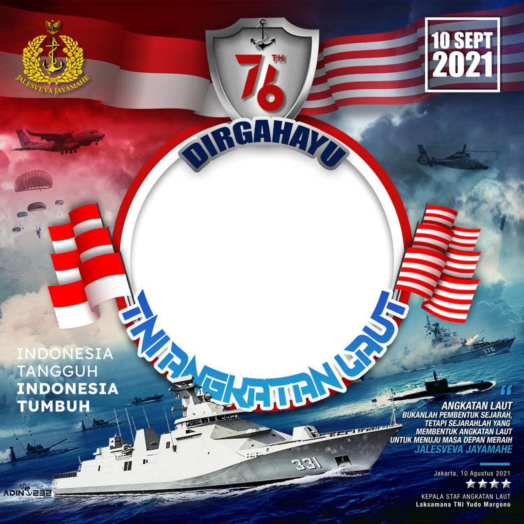 Template Desain Frame Bingkai Twibbon Ucapan Selamat Ulang Tahun TNI AL 2021