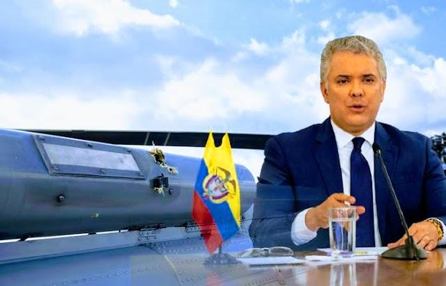 Atacaron con disparos de fusil helicóptero en el que viajaba el presidente colombiano Iván Duque