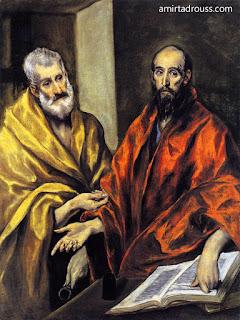 رسم من الكنيسة الجورجية للقديسين بطرس وبولس