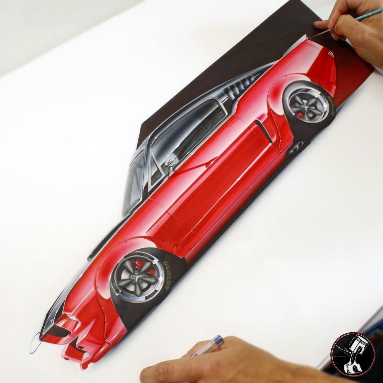 Ferrari Fastback: Pinstripe Chris: Custom 65 Mustang Fastback/Racecar For