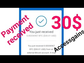 Payment received 0.00336 BTC = 30$ With Accessgains site || Bitcoin Earning site 2020 || YTRipon