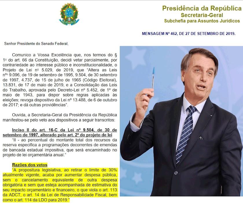Mensagem de Bolsonaro ao Senado vetando as safadezas eleitorais que esquematizaram para 2020