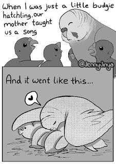 Jenny Jinya, illustrator, story, animal, parrots sad truth