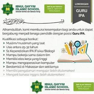 Lowongan Kerja Guru IPA di Ibnul Qayyim Islamic School