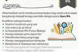 Lowongan Kerja Guru IPA di Ibnul Qayyim Islamic School (tutup 31 Juli 2019)