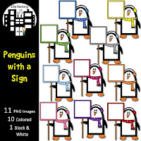 Penguins with a Sign Clipart