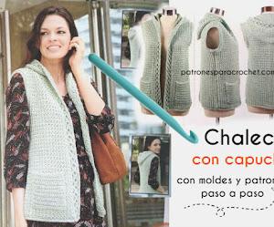 Patrones de Chaleco con Capucha y Bolsillo a Crochet 👍 Con Paso a Paso