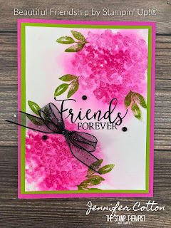 Friends Forever card with Stampin' Up!'s Beautiful Friendship retiring stamp set!  You can get this set through May 3, 2021 or while supplies last.  The greeting is from Create With Friends available STARTING MAY 4, 2021.  In the video on the blog I make this card and show the Watercolor Paper technique.   Measurements are on the blog.  #StampinUp #StampTherapist #BeautifulFriendship