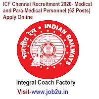 ICF Chennai Recruitment 2020- Medical and Para-Medical Personnel (62 Posts) Apply Online