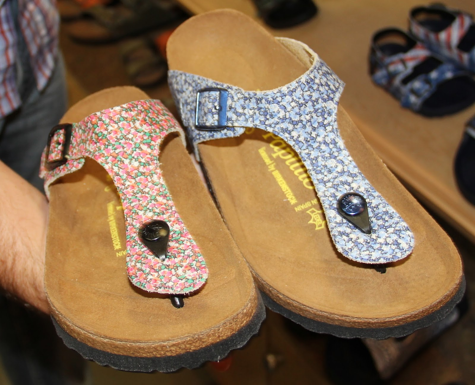 5d94e362ffbb Papillio by Birkenstock-Gizeh-cotton-collab with famed UK Liberty floral  printed fabric makers-in Pepper Red -Blue print  130