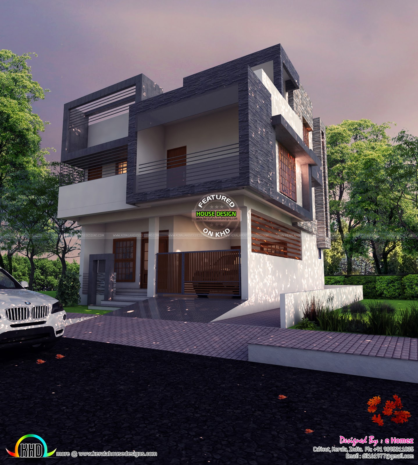 Front Elevation For East Facing House : East facing contemporary home kerala design and