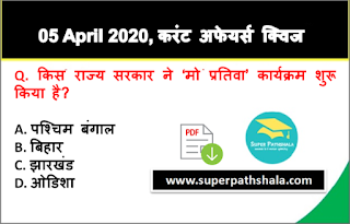 Daily Current Affairs Quiz in Hindi 05 April 2020