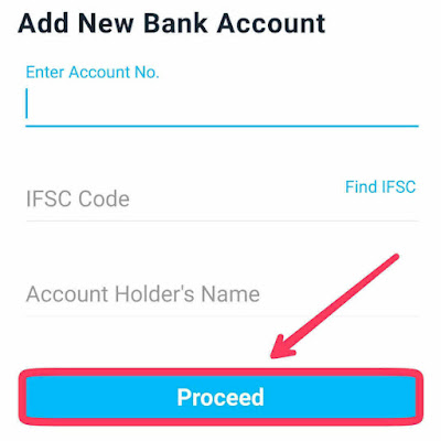 Write account number, IFSC code and Account Holder Name.