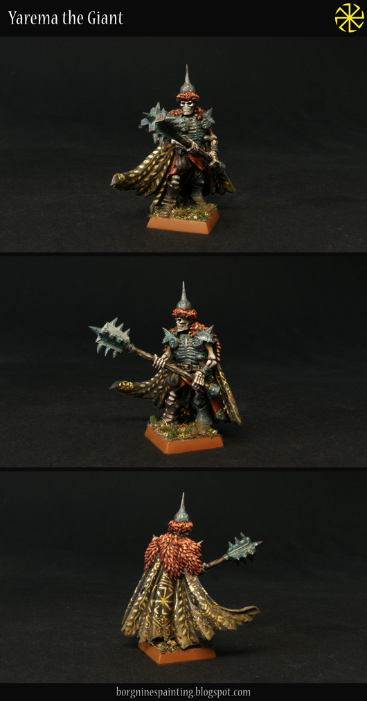 Painted, kitbashed model of a Wight King with a two-handed mace, made out of various bits (including a Space Marine cloak) and greenstuff.