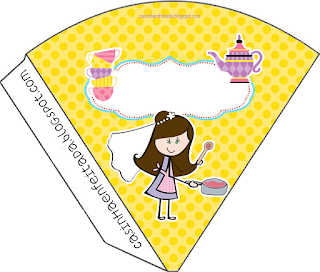 Bride Cooking in Yellow and Purpl Free Printable Cones.
