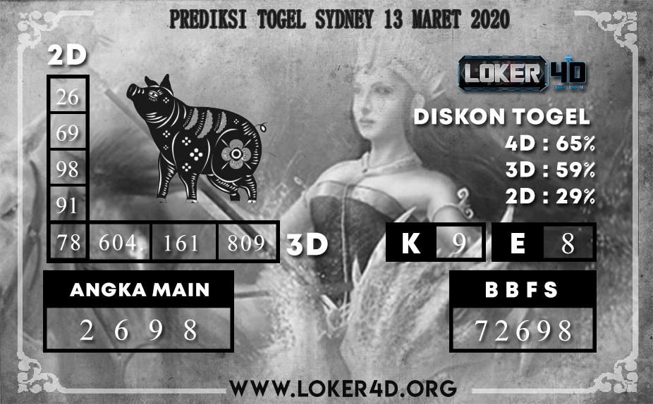 PREDIKSI TOGEL SYDNEY LOKER4D 13 MARET 2020