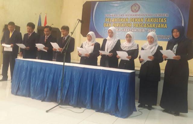 Pelantikan Bersama Pejabat Baru Di Lingkungan Universitas Muhammadiyah Jember