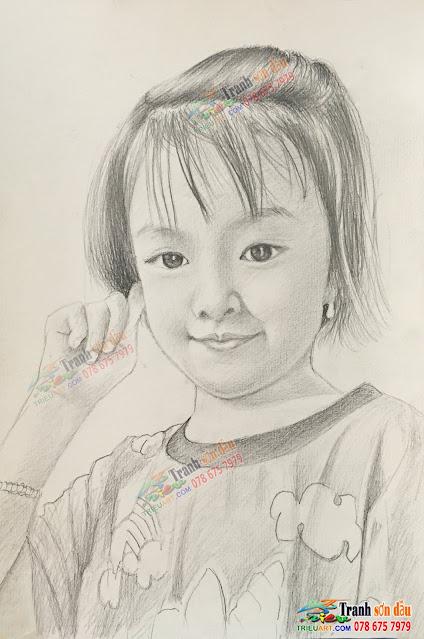 Vẽ chân dung chì than tặng bé by