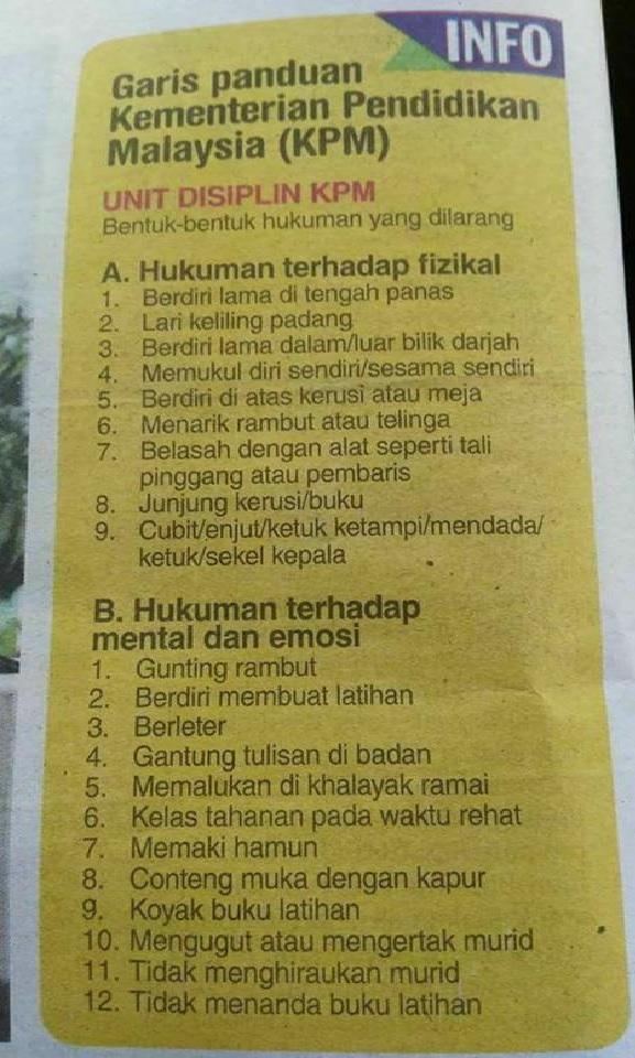 senarai hukuman yang dilarang oleh KPM ke atas pelajar di sekolah