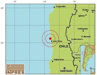 Según los datos brindados en la página web del Inpres, ocurrió a las 8:38:35 de hoy, con epicentro a 23 kilómetros al Noroeste de Los Vilos. La magnitud alcanzada trepó a los 5,7° en la Escala de Richter y a una profundidad de 35 KM.
