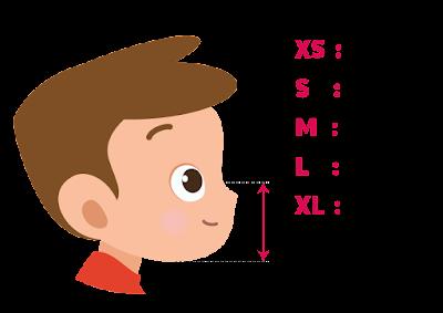Quelle taille de masque choisir ? Prendre la mesure depuis l'arête du nez jusqu'au menton, XS : 9-10cm,  S : 10-11cm, M : 11-12cm, L : 12-13cm, XL : 13-14cm