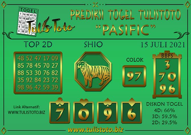 Prediksi Togel PASIFIC TULISTOTO 15 JULI 2021