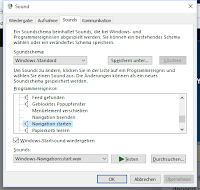 Sounds-Menü bei Windows 10