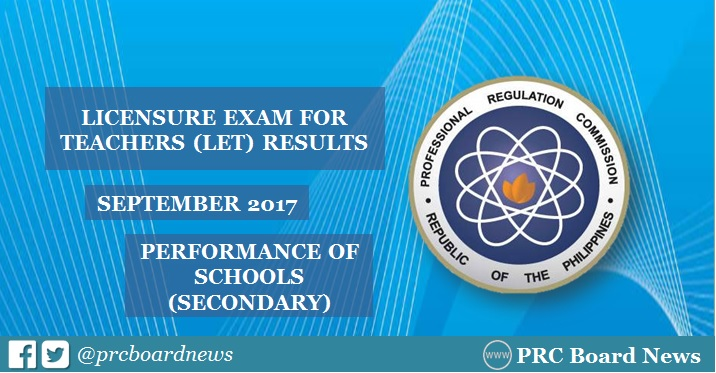 September 2017 LET result Secondary: top performing schools