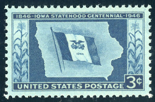US Stamp Iowa Statehood 3c
