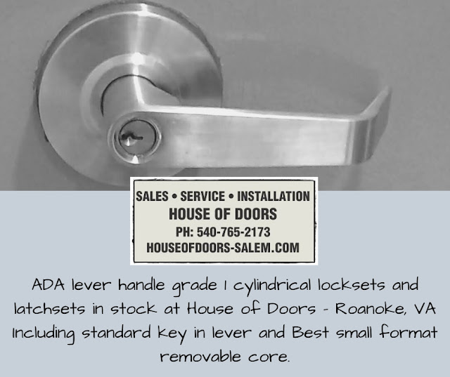ADA lever handle grade 1 cylindrical locksets and latchsets in stock at House of Doors - Roanoke, VA Including standard key in lever and Best small format removable core.