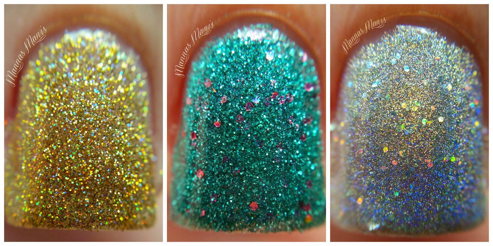 Macro shots of Orly Mirrorball, Steal the Spotlight, and Bling