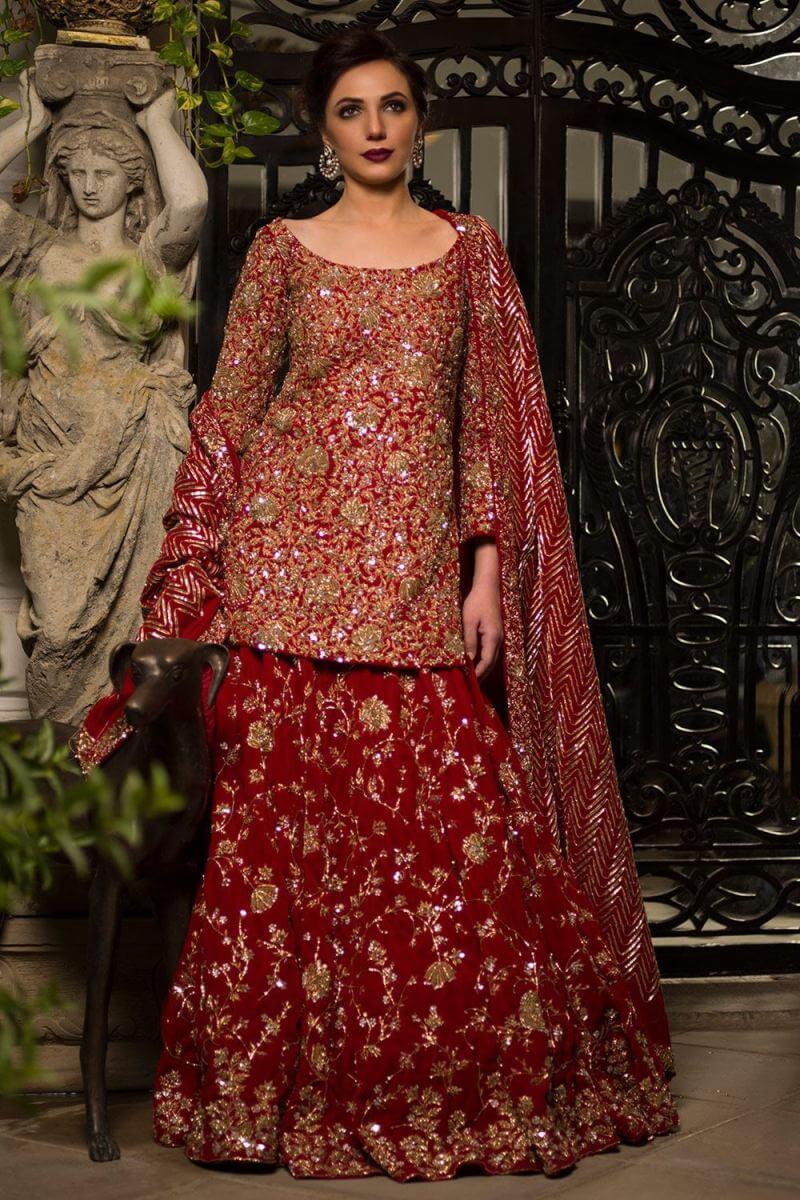 Red velvet Pakistani bridal dress available online by Nida Azwer bridal dresses for reception