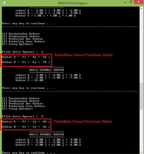 Program Penjumlahan dan Perkalian 2 Vektor 3D Menggunakan Bahasa C